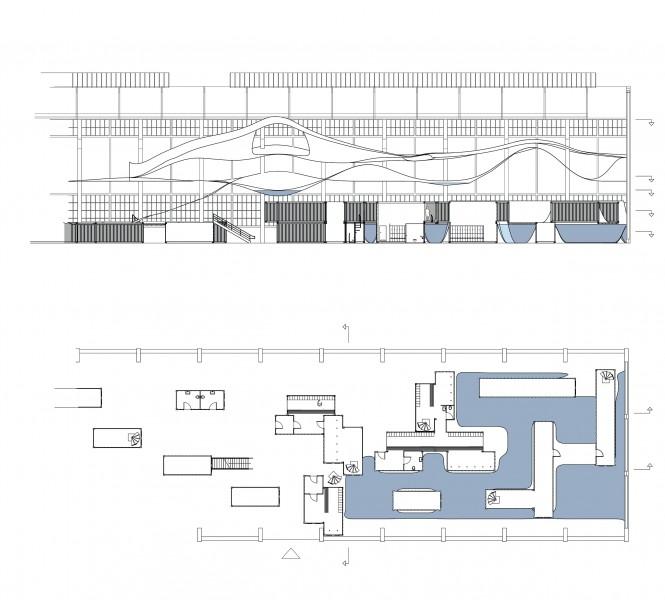 1:200 udsnit af de samlede tegninger for forrige side. udsnittet af taget fra svømmehallens sydlige ende, som er den mest komplekse og Her hvor rummet opløses mod taget. Containerne og de store bassiner danner den massive bund, mens plasten og de lavere bassiner løfter sig og bliver mere luftigt.